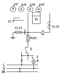 Припципиальная схема ВРУ, панели 3BР-7-25-0-31, 3BР-7-40-0-31, 3BР-7-63-0-31