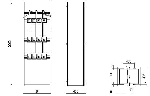 Габаритные и установочные размеры распределительных панелей